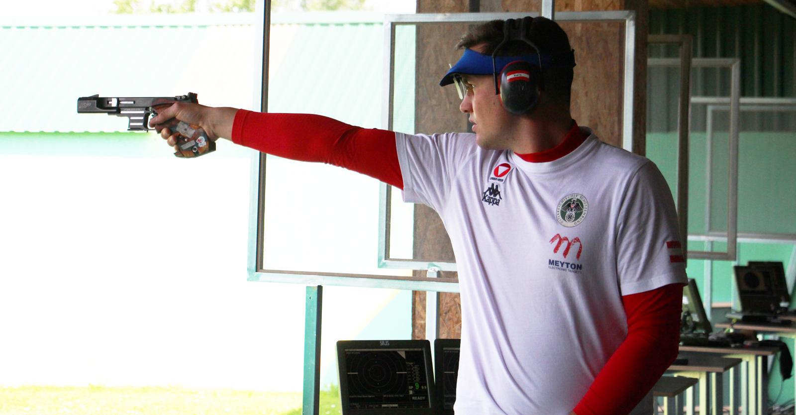 Daniel Kral ist bester Österreicher im olympischen Bewerb 25m-Schnellfeuerpistole © Margit Melmer, ÖSB