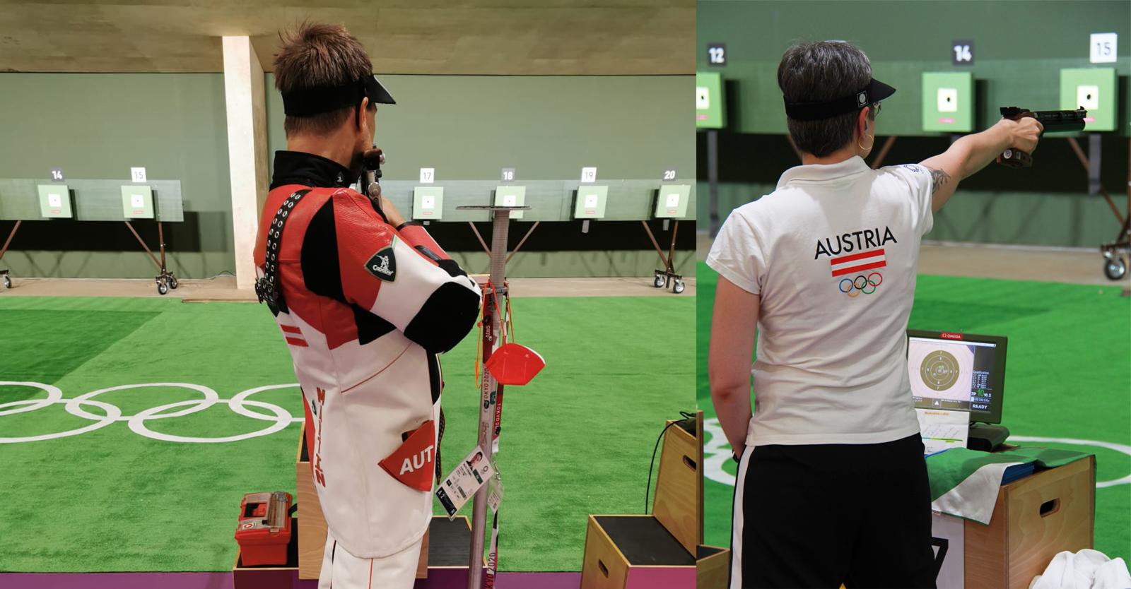 Strempfl und Steiner bei ihren ersten Schüssen in Tokio