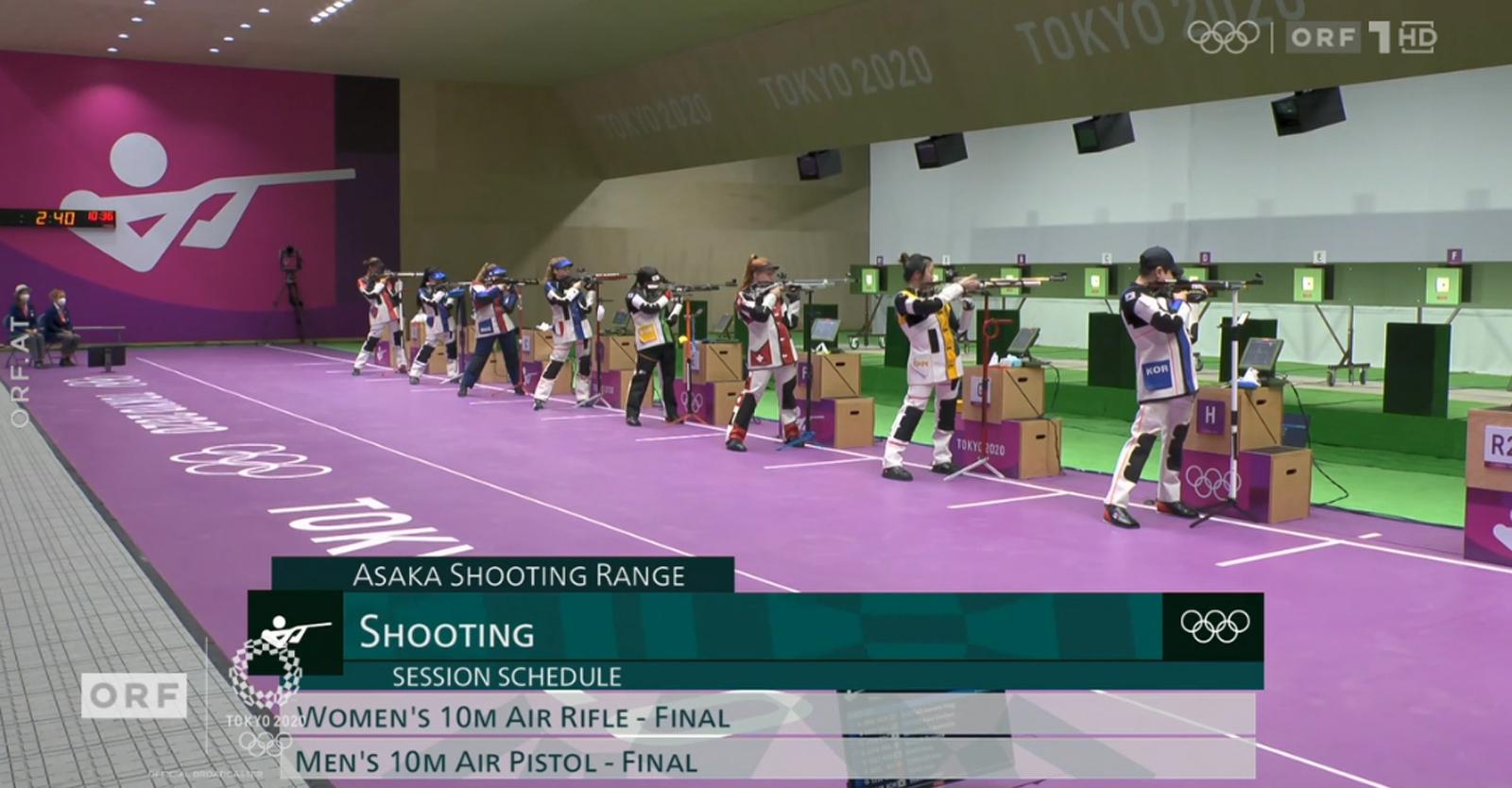 Die beiden ersten Medaillenentscheidungen im Sportschießen im Luftgewehrbewerb der Frauen und Luftpistolenbewerb der Männer wurden in ORF 1 übertragen