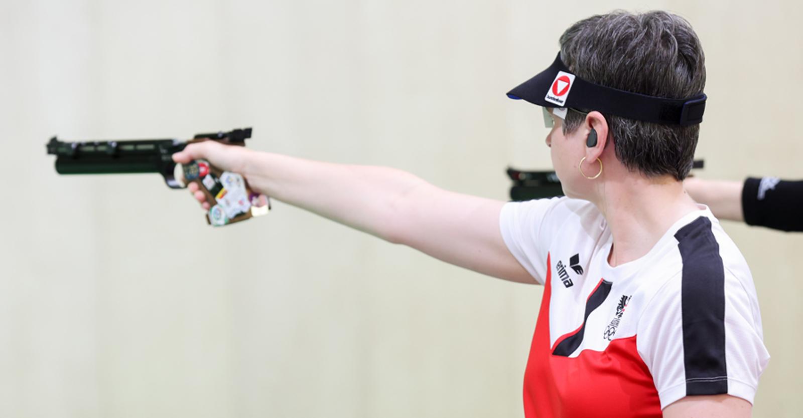Sylvia Steiner im olympischen Luftpistolenbewerb der Frauen © ÖOC/GEPA